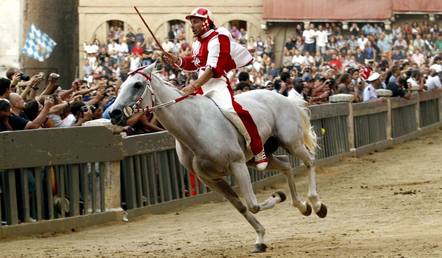 an analysis of the palio horse race in italys city siena The palio di siena (italian pronunciation: [ˈpaːljo di ˈsjɛːna] known locally simply as il palio) is a horse race that is held twice each year, on 2 july and 16 august, in siena, italy ten horses and riders, bareback and dressed in the appropriate colours, represent ten of the seventeen contrade, or city wards.